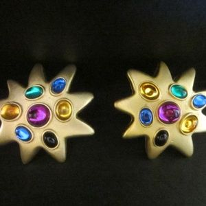 Jewelry - Golden Star Clip on Cabochons Earrings